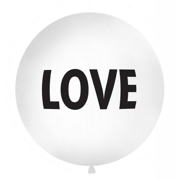 Balloon 1 m. Love. print. white. 1piece