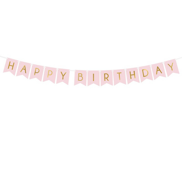 Banner Happy Birthday, light pink, 15 x 175 cm