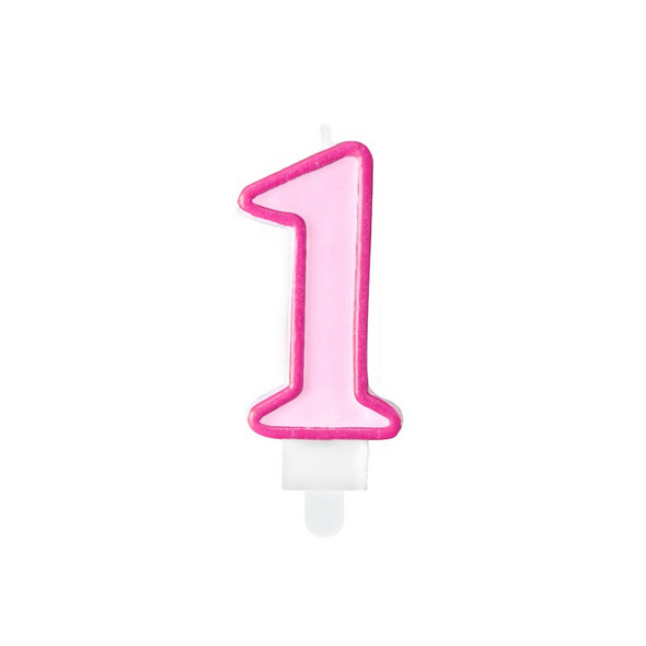 Birthday candle Number 1, pink, 7cm