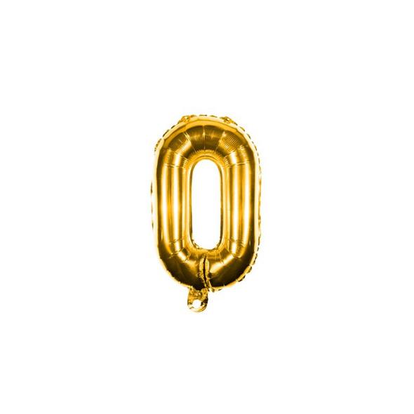 Folienballon Zahl 0 Ziffer Null gold 35cm