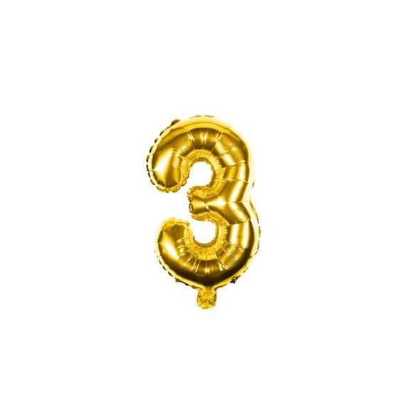 Folienballon Zahl 3 Ziffer Drei gold 35cm