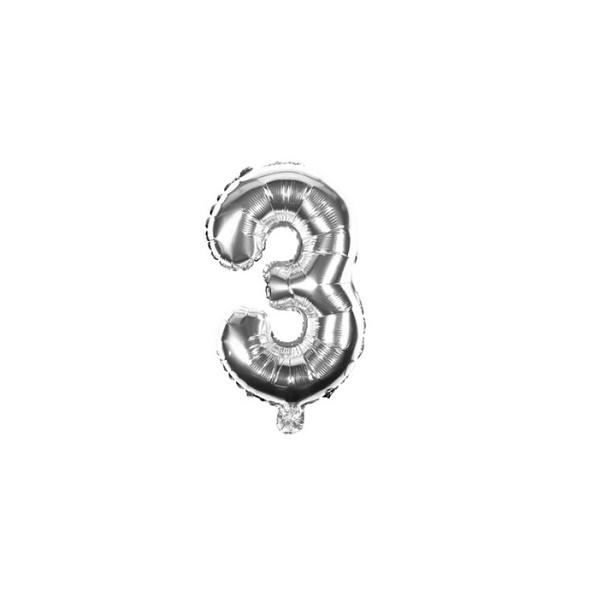 Folienballon Zahl 3 Ziffer Drei silber 35cm