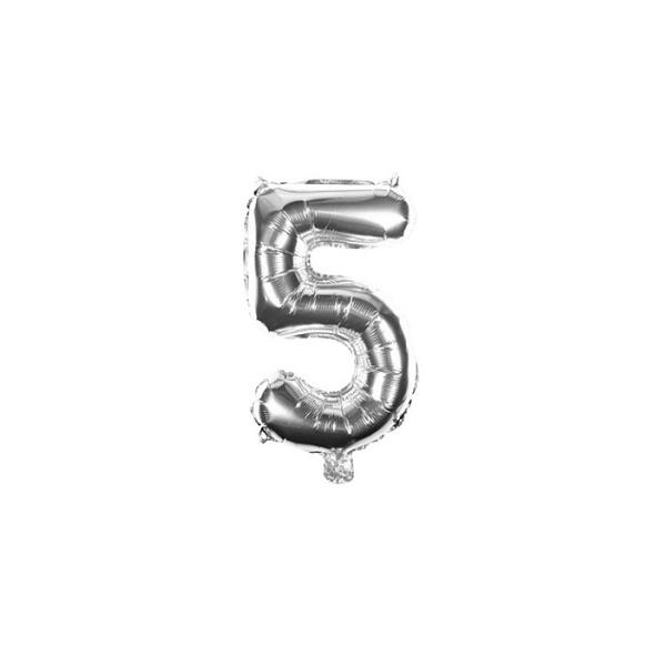 Folienballon Zahl 5 Ziffer Fünf silber 35cm