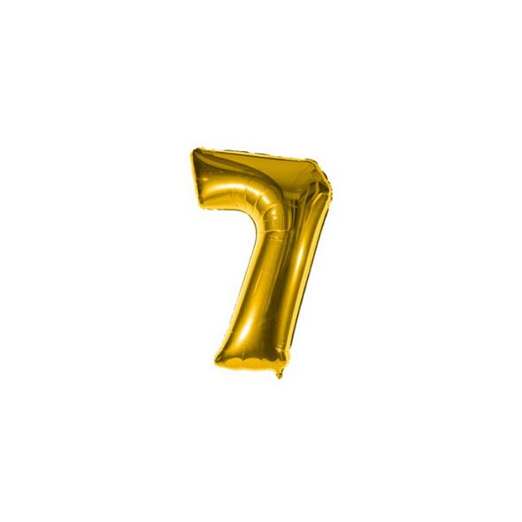 Folienballon Zahl 7 Ziffer Sieben gold 35cm