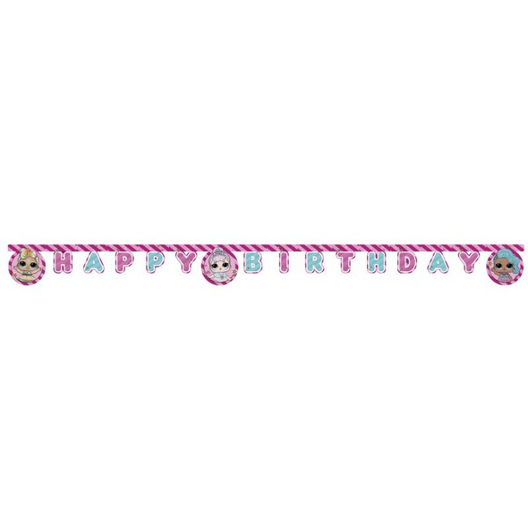 LOL GLITTERATI Die-cut Happy Birthday banner