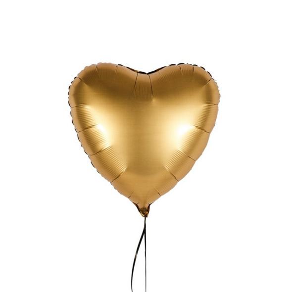 Luxuriöser Folienballon in HerzformFarbe Gold satin in der Größe 43 cm