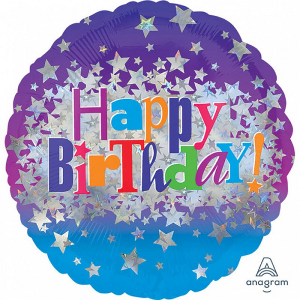 Standard Happy Birthday Bright Stars Folienballon rund, S55, verpackt, 43 cm