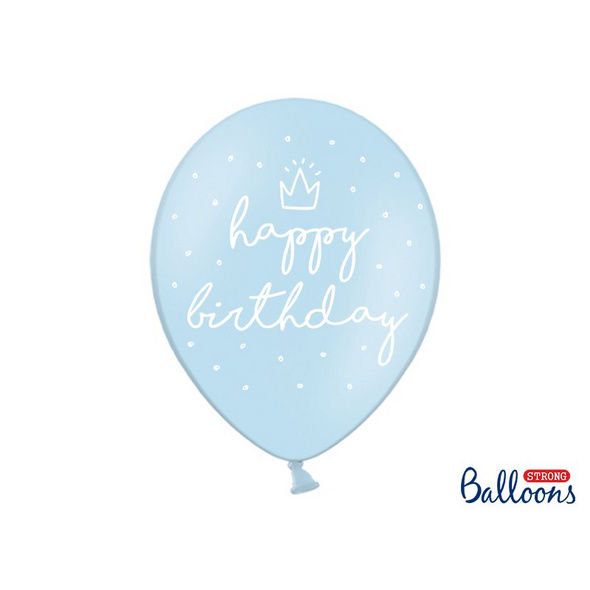 Strong Balloons 30cm, happy., P. B. blue (1 pkt / 6 pc.)