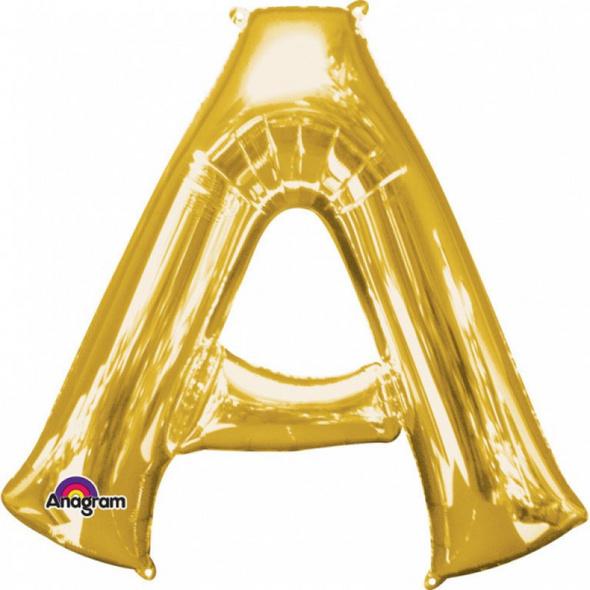 SuperShape Buchstabe A Gold Folienballon L34 verpackt 93cm x 86cm