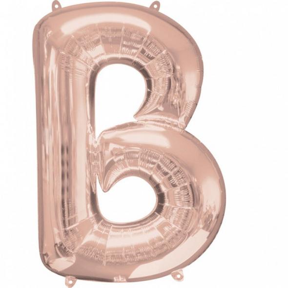 SuperShape Buchstabe B Rosé-Gold Folienballon L34 verpackt 58cm x 86cm