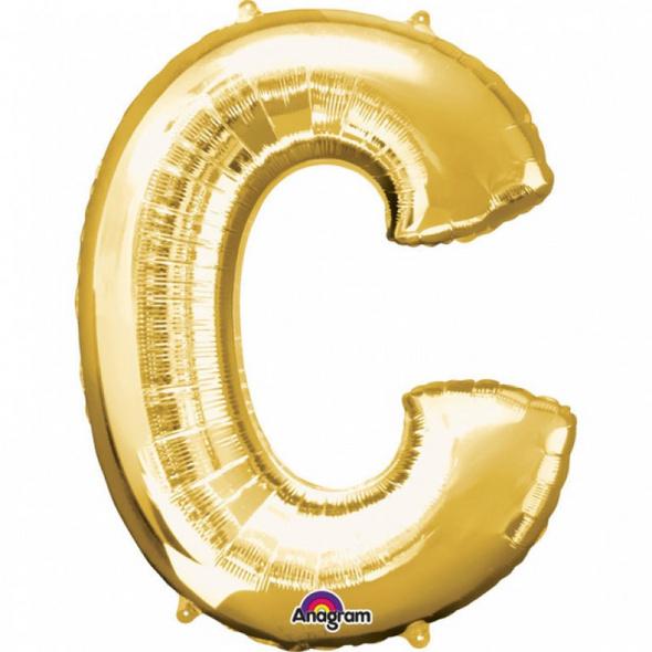 SuperShape Buchstabe C Gold Folienballon L34 verpackt 63cm x 81cm