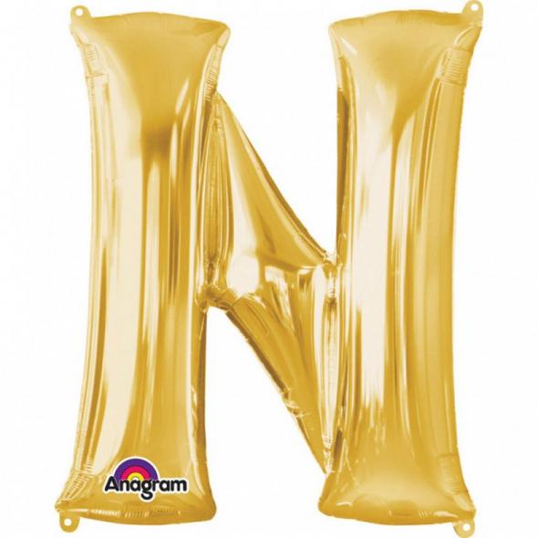 SuperShape Buchstabe N Gold Folienballon L34 verpackt 60cm x 81cm