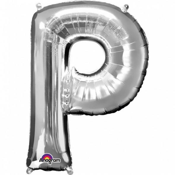SuperShape Buchstabe P Silber Folienballon L34 verpackt 60cm x 81cm