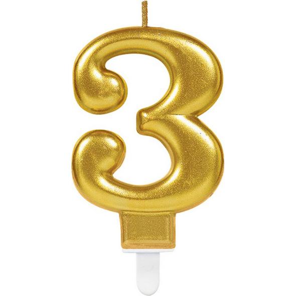 Zahlenkerze 3 Sparkling Celebrations Gold Hoehe 9,3 cm