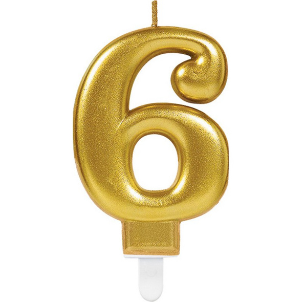 Zahlenkerze 6 Sparkling Celebrations Gold Hoehe 9,3 cm