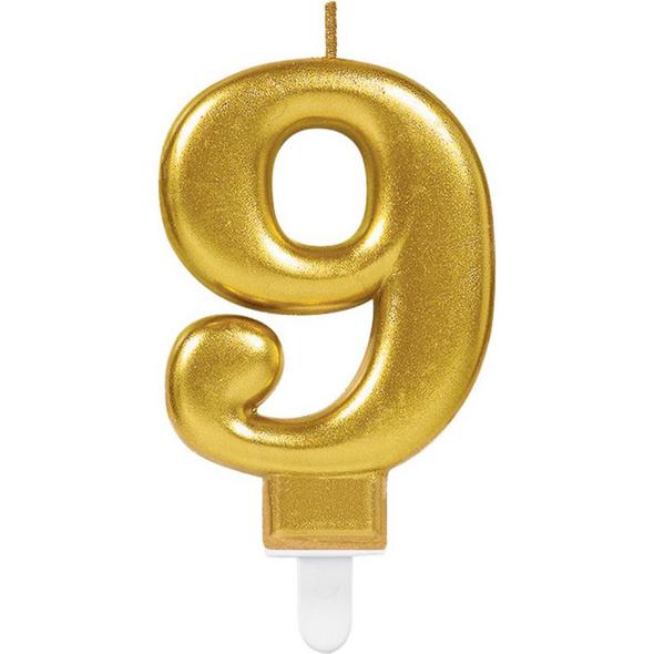 Zahlenkerze 9 Sparkling Celebrations Gold Hoehe 9,3 cm