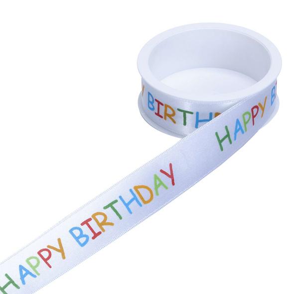 SATIN Geschenkband Happy Birthday 25mm