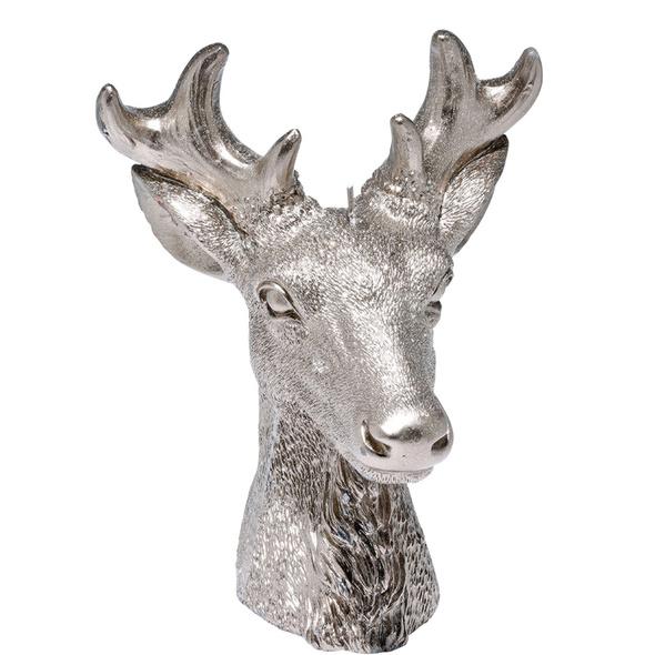 FLAMBEAU Kerze Hirschkopf 18cm silber
