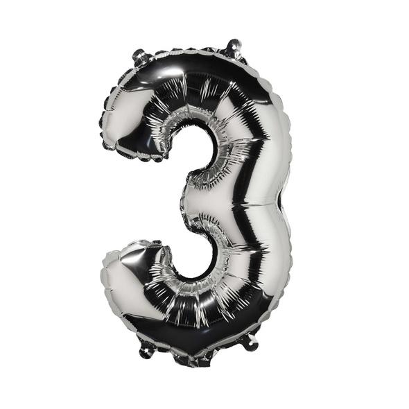 """UPPER CLASS Folienballon silber """"3"""""""