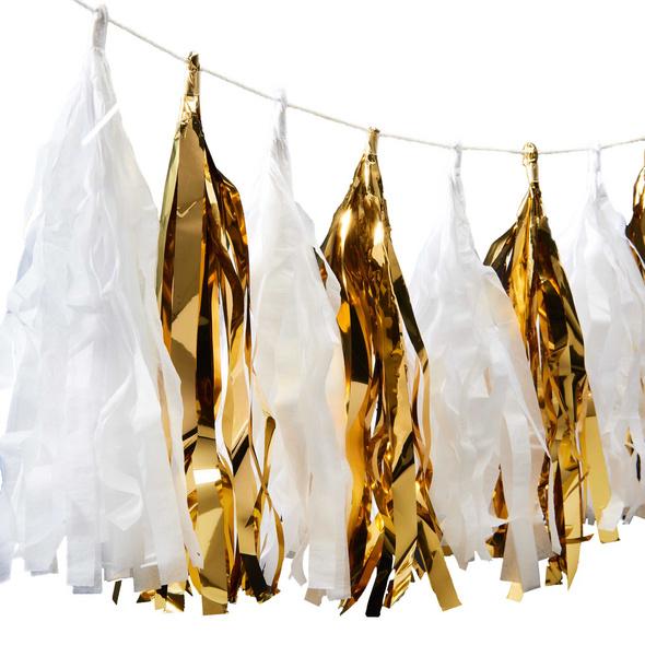 BANNER DAY Girlande Tassel gold/weiß
