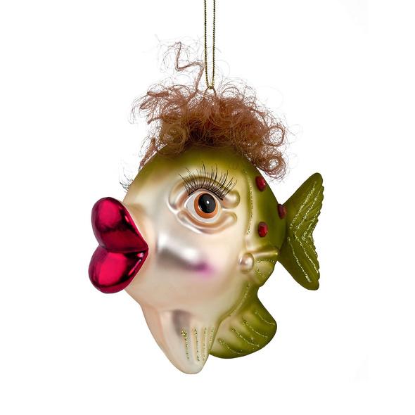 HANG ON Glas Anhänger Fisch mit Locken