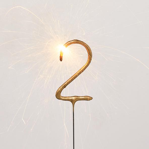 MAGIC MOMENTS Wunderkerze Ziffer 2,gold