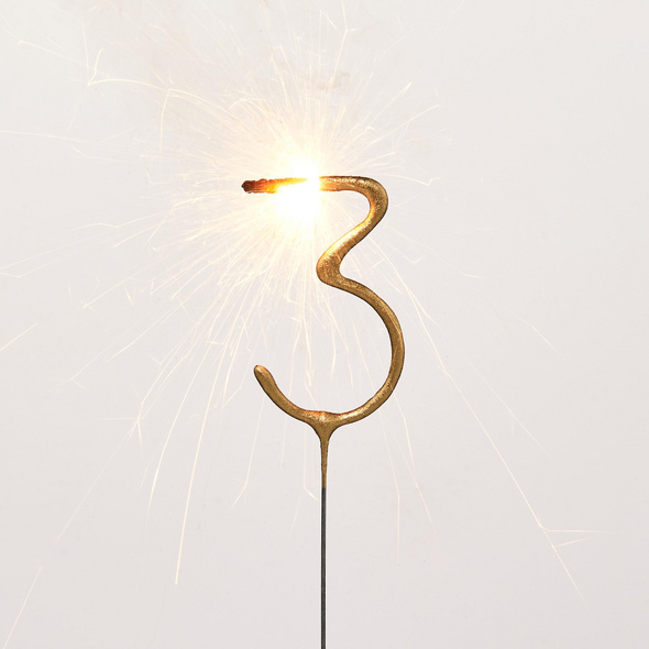MAGIC MOMENTS Wunderkerze Ziffer 3,gold