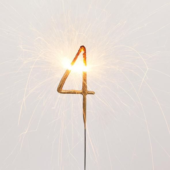 MAGIC MOMENTS Wunderkerze Ziffer 4,gold