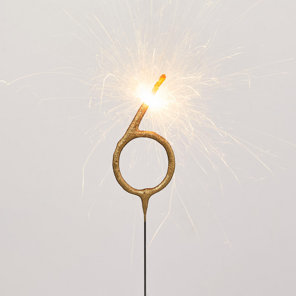 MAGIC MOMENTS Wunderkerze Ziffer 6,gold