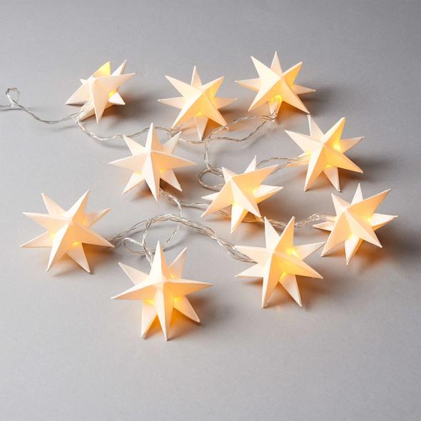 ORIGAMI Lichterkette Sterne, weiß