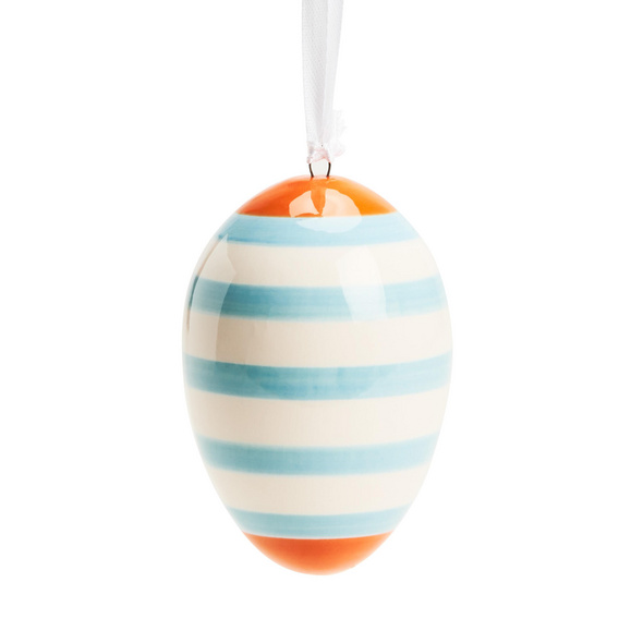 EASTER Keramik Ei Streifen blau