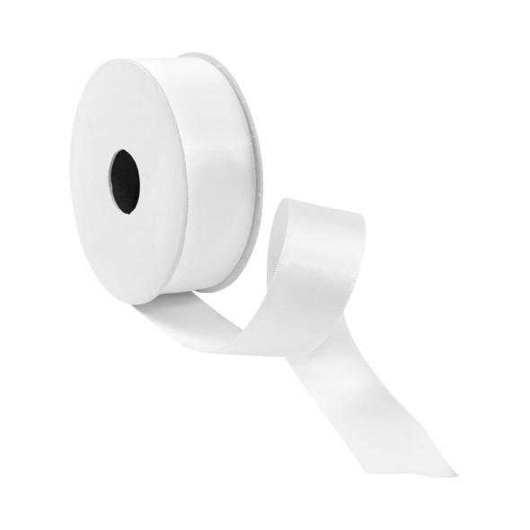 SATIN Geschenkband 5m x 25mm weiß