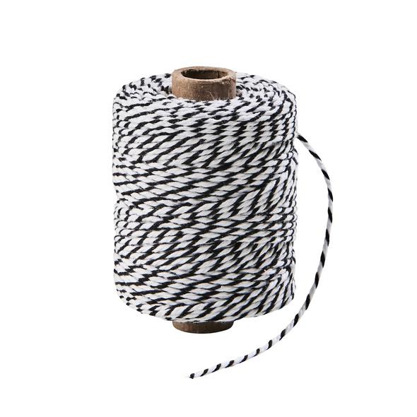 COTTON TWIST Kordel 50m schwarz/weiß