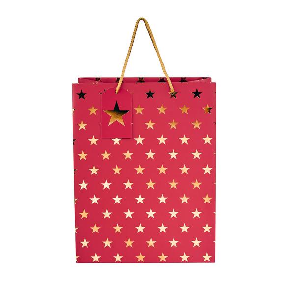 X-MAS Geschenktüte Sterne rot maxi