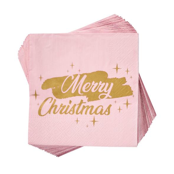 APRÈS Papierserviette Merry Christm.rosa