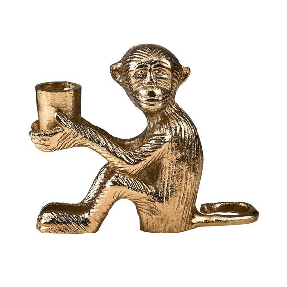 LE SINGE Metall Kerzenhalter Affe, gold