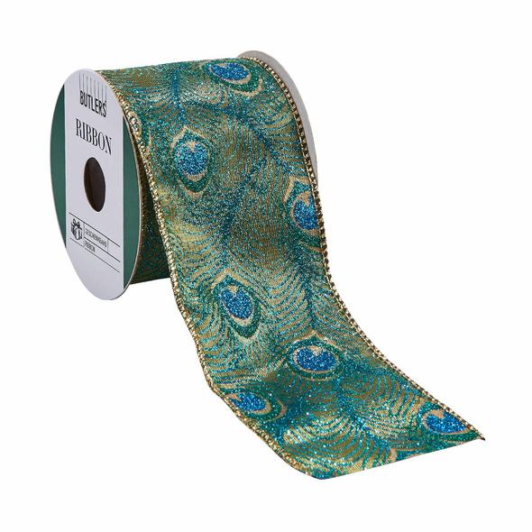 RIBBON Geschenkband Pfau blau 3m x 6,3cm