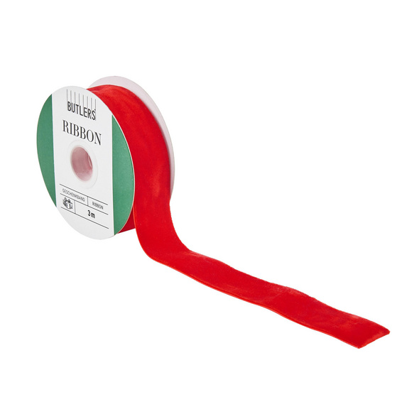 RIBBON Geschenkband Samt rot 3m x 2,5cm