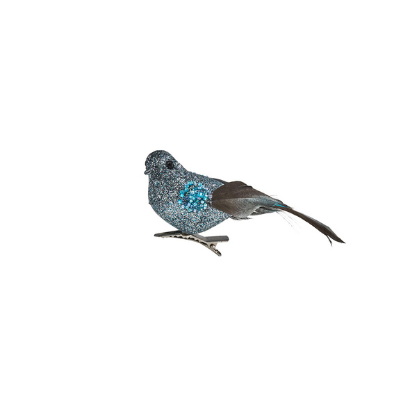 BIRDY Vogel mit Clip Glitzer blau