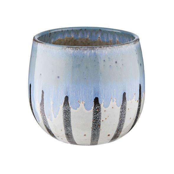 TERRANO Blumentopf Ø16 cm Streifen, blau