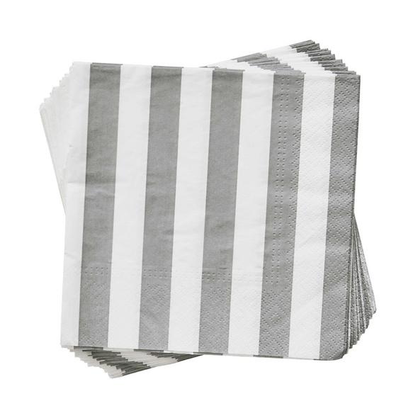 APRÈS Papierserviette Streifen grau