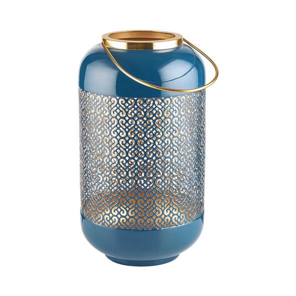 EMILIE Metall Laterne blau 33cm