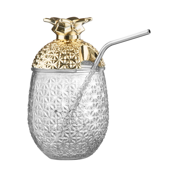 COCKTAIL DELUXE Glas m Trinkhalm gold
