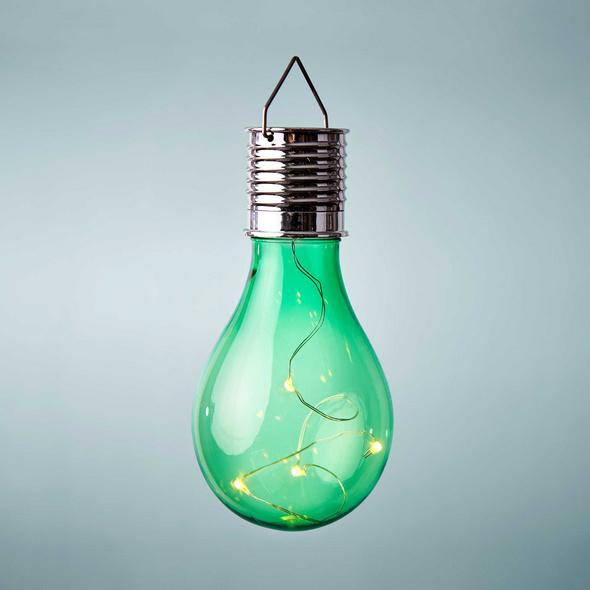 SUNLIGHT Glühbirne Solar m. Aufh. grün
