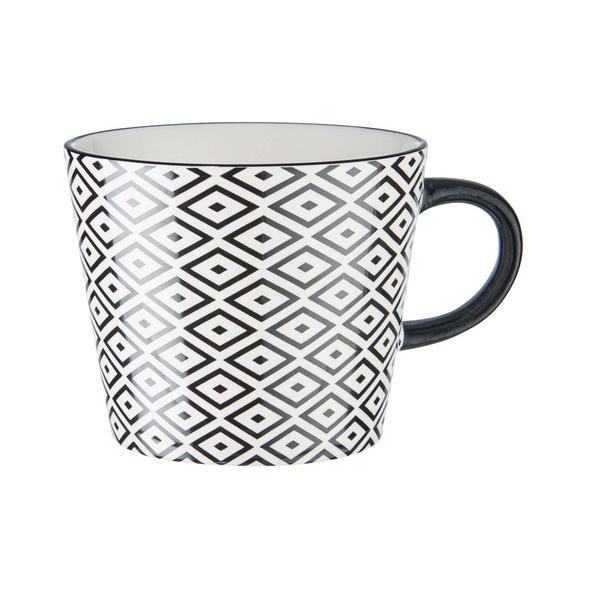 ORNAMENTS Tasse schwarz/weiß 350 ml