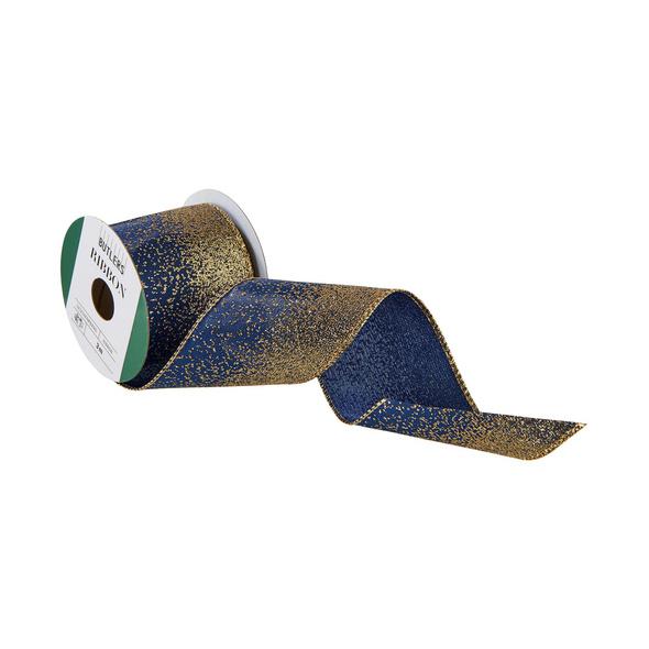 RIBBON Geschenkband blau/gold 3mx6,4cm