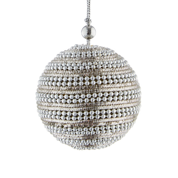 HANG ON Kordel Kugel 8cm silber Perlen