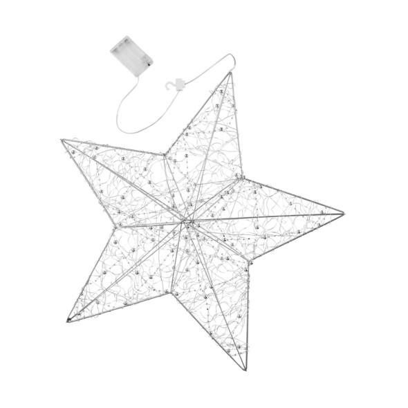 SHINING STAR LED Stern 3D m. Deko silber