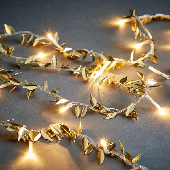 CAESAR LED Lichterkette Blätter gold