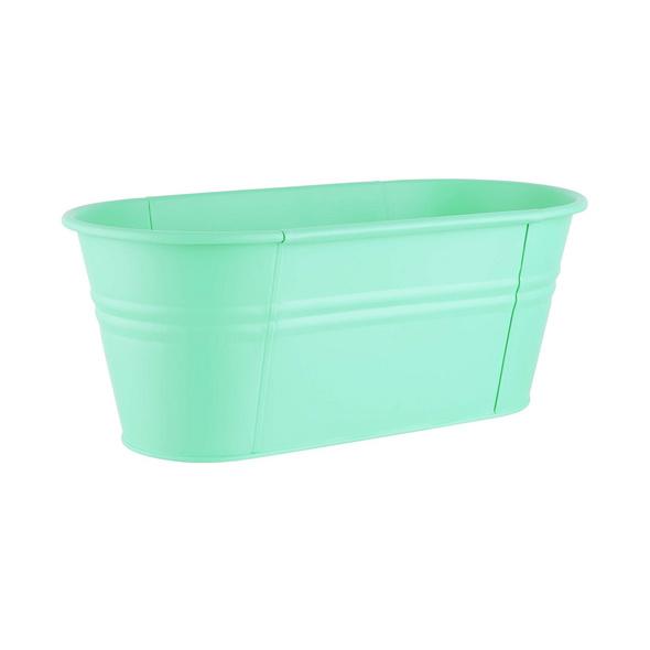 ZINC Pflanzkasten oval 40cm, mint grün